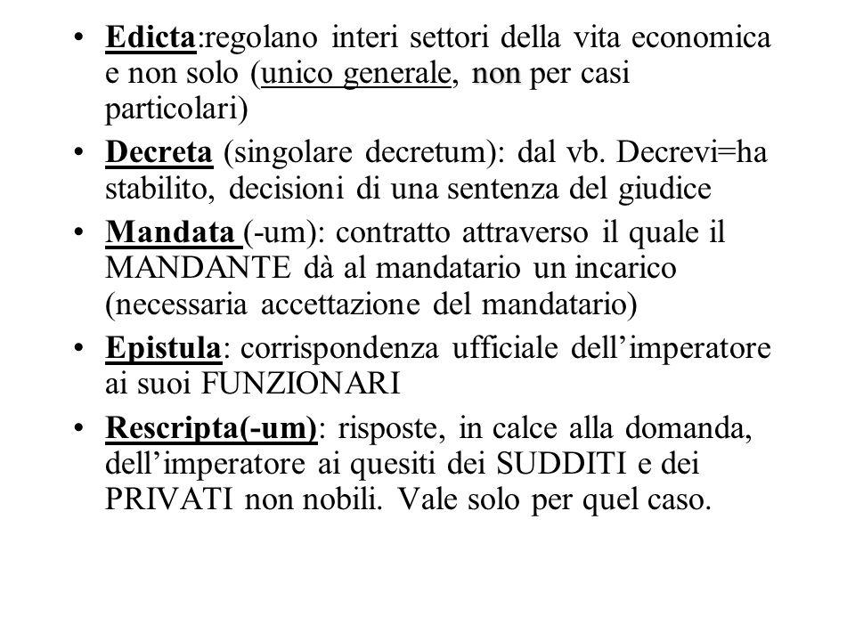 nonEdicta:regolano interi settori della vita economica e non solo (unico generale, non per casi particolari) Decreta (singolare decretum): dal vb. Dec