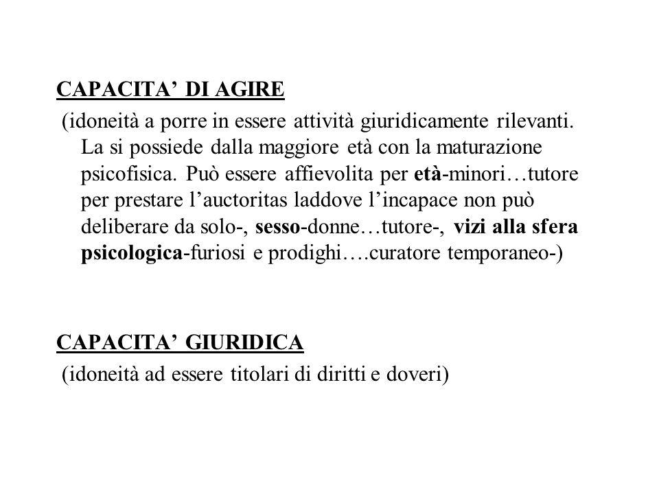 CAPACITA DI AGIRE (idoneità a porre in essere attività giuridicamente rilevanti. La si possiede dalla maggiore età con la maturazione psicofisica. Può