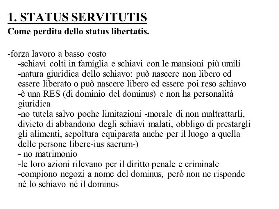 1. STATUS SERVITUTIS Come perdita dello status libertatis. -forza lavoro a basso costo -schiavi colti in famiglia e schiavi con le mansioni più umili