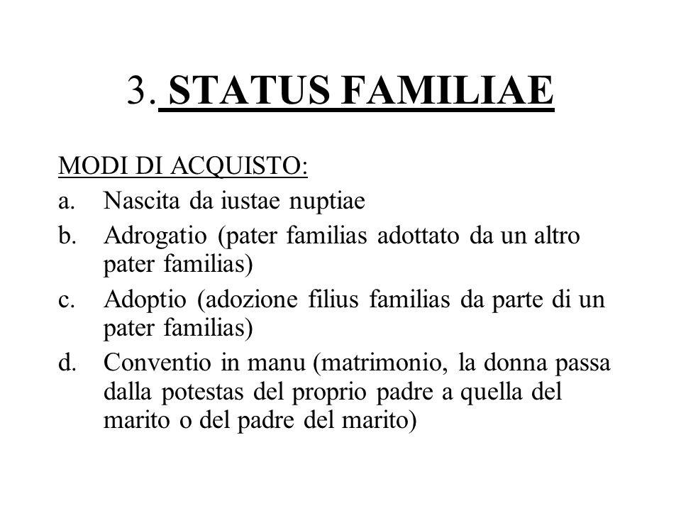 3. STATUS FAMILIAE MODI DI ACQUISTO: a.Nascita da iustae nuptiae b.Adrogatio (pater familias adottato da un altro pater familias) c.Adoptio (adozione