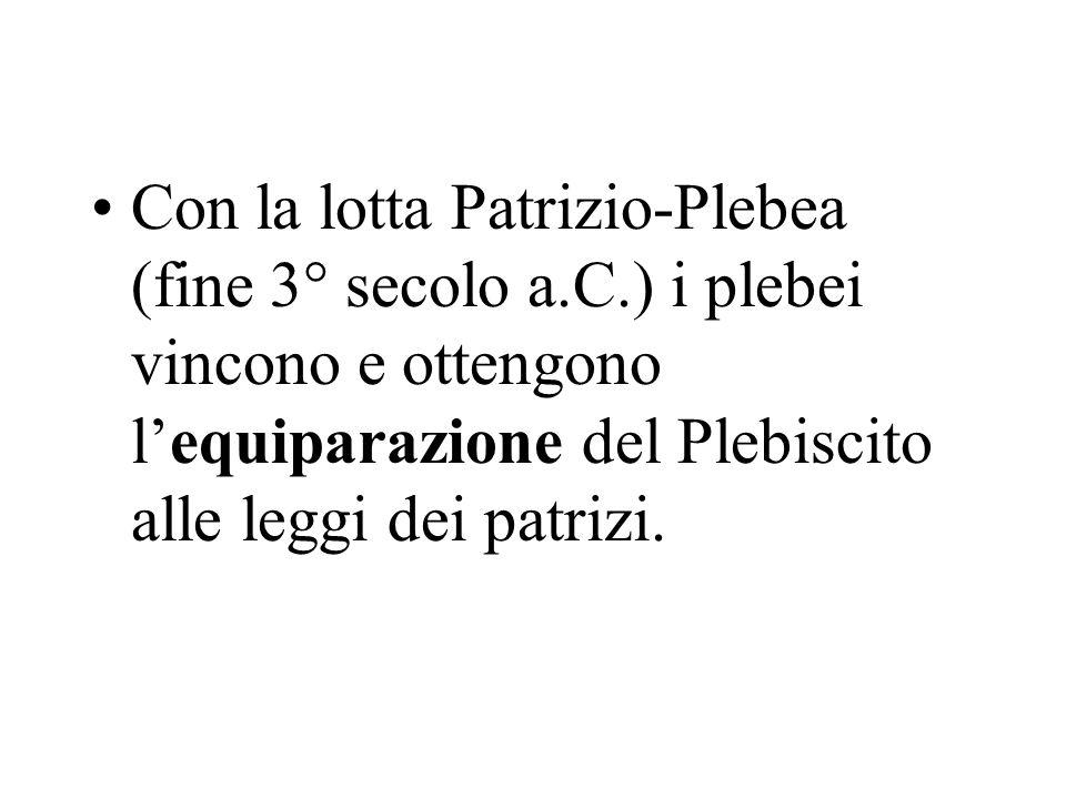 Con la lotta Patrizio-Plebea (fine 3° secolo a.C.) i plebei vincono e ottengono lequiparazione del Plebiscito alle leggi dei patrizi.