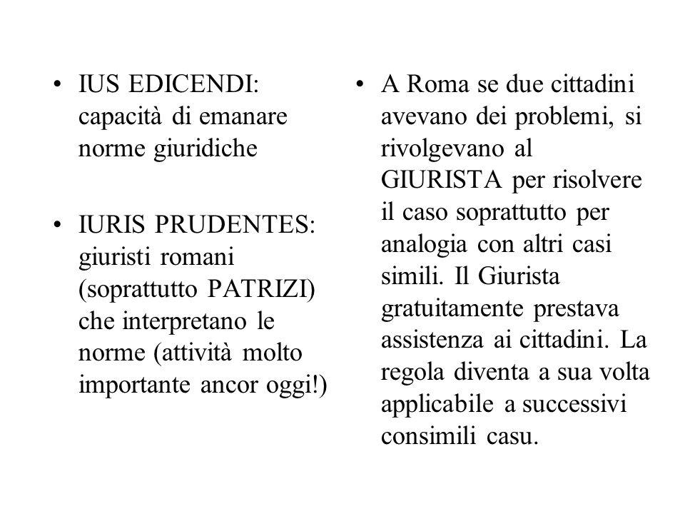 IUS EDICENDI: capacità di emanare norme giuridiche IURIS PRUDENTES: giuristi romani (soprattutto PATRIZI) che interpretano le norme (attività molto im