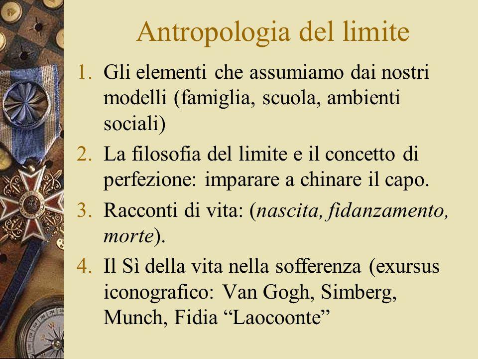 Antropologia del limite 1.Gli elementi che assumiamo dai nostri modelli (famiglia, scuola, ambienti sociali) 2.La filosofia del limite e il concetto di perfezione: imparare a chinare il capo.