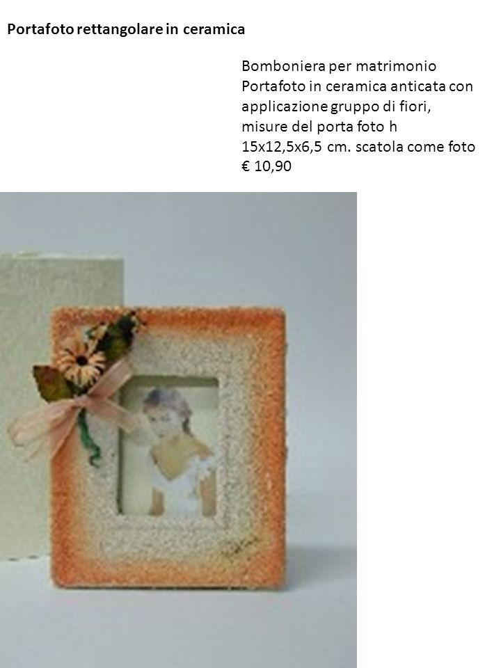 Portafoto rettangolare in ceramica Bomboniera per matrimonio Portafoto in ceramica anticata con applicazione gruppo di fiori, misure del porta foto h