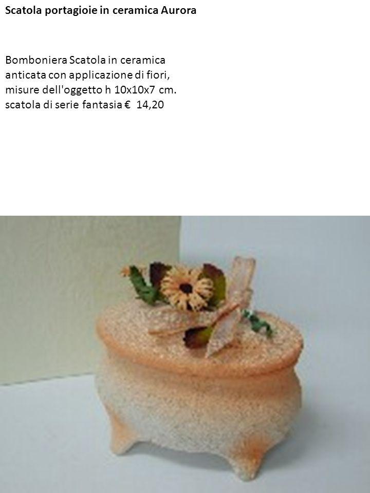 Scatola portagioie in ceramica Aurora Bomboniera Scatola in ceramica anticata con applicazione di fiori, misure dell'oggetto h 10x10x7 cm. scatola di