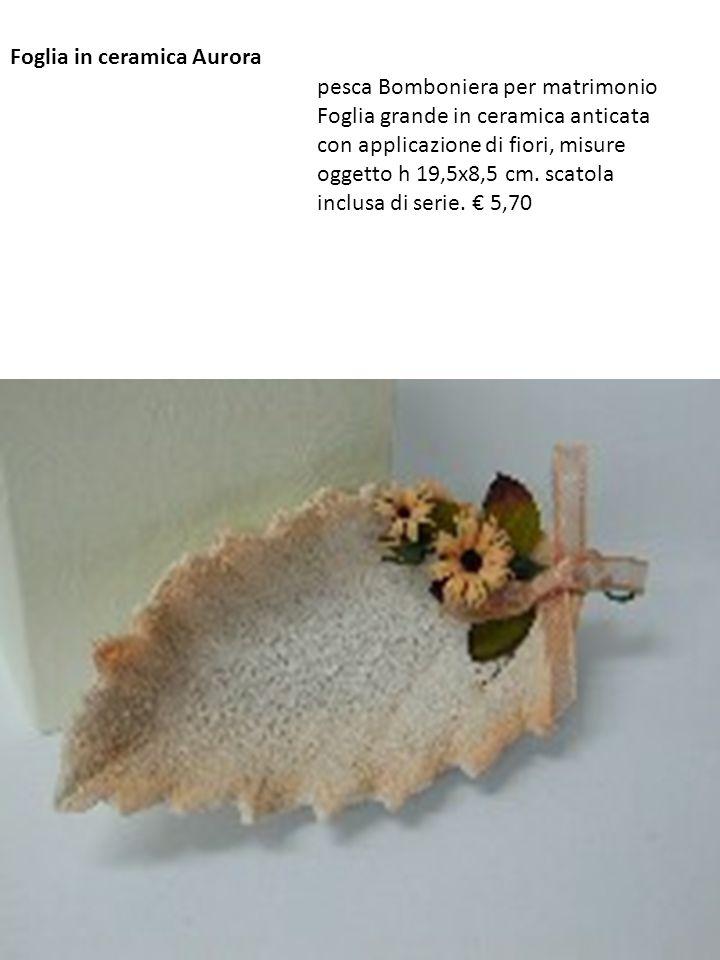 Foglia in ceramica Aurora pesca Bomboniera per matrimonio Foglia grande in ceramica anticata con applicazione di fiori, misure oggetto h 19,5x8,5 cm.