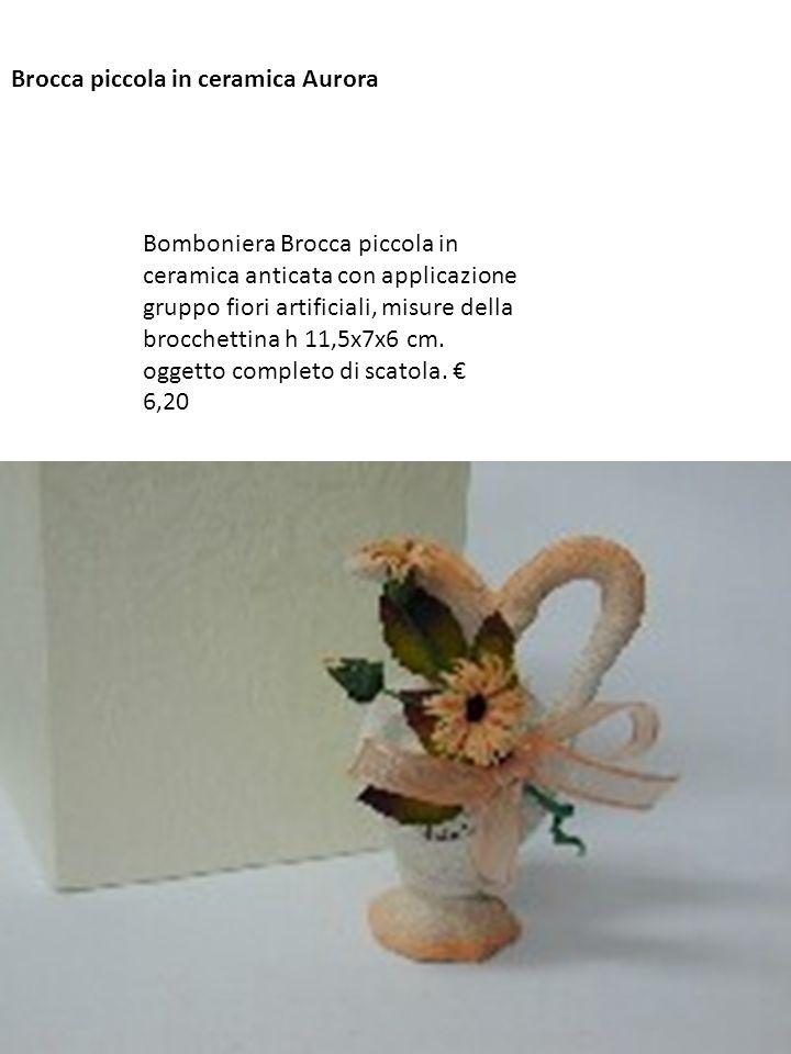 Brocca piccola in ceramica Aurora Bomboniera Brocca piccola in ceramica anticata con applicazione gruppo fiori artificiali, misure della brocchettina