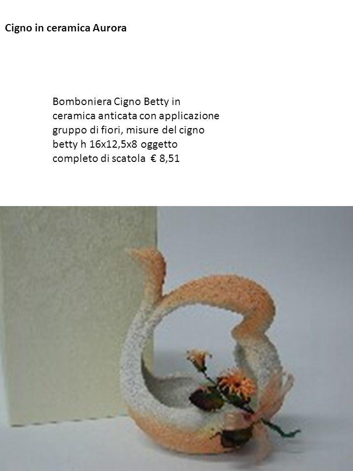 Cigno in ceramica Aurora Bomboniera Cigno Betty in ceramica anticata con applicazione gruppo di fiori, misure del cigno betty h 16x12,5x8 oggetto comp