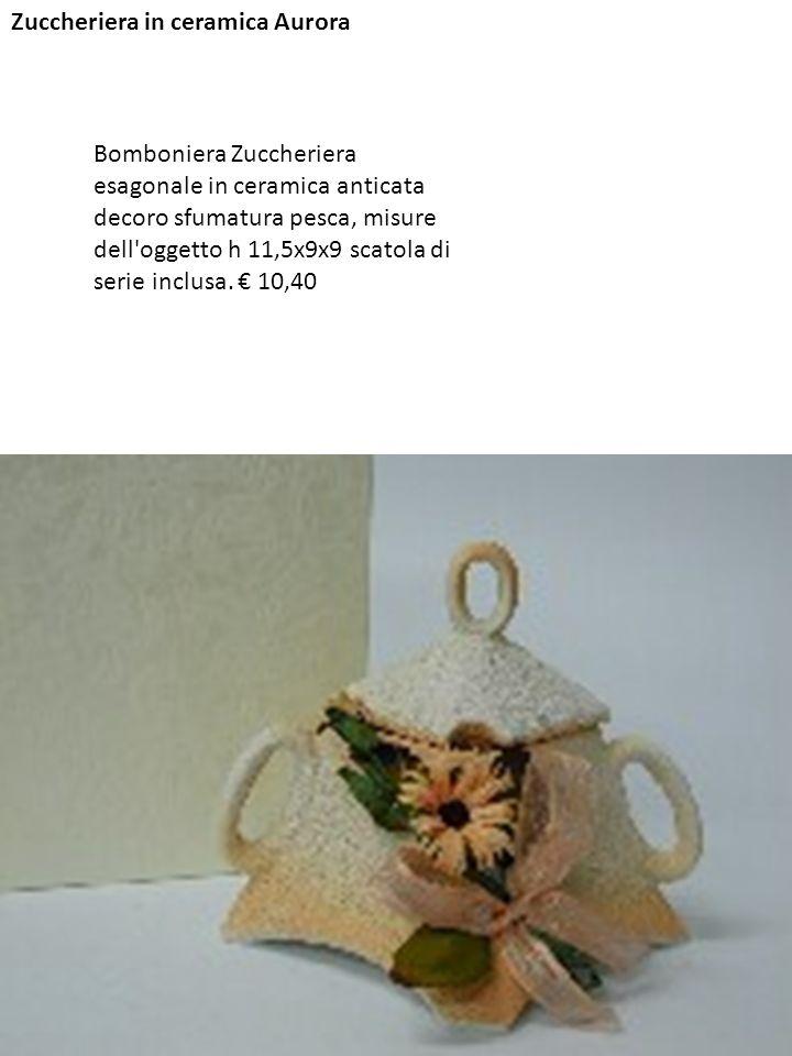 Zuccheriera in ceramica Aurora Bomboniera Zuccheriera esagonale in ceramica anticata decoro sfumatura pesca, misure dell'oggetto h 11,5x9x9 scatola di