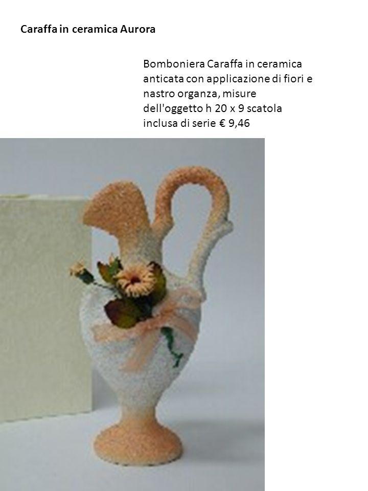 Bomboniera Caraffa in ceramica anticata con applicazione di fiori e nastro organza, misure dell'oggetto h 20 x 9 scatola inclusa di serie 9,46 Caraffa