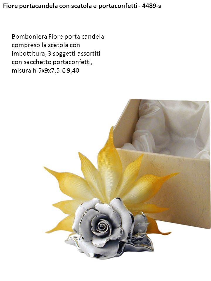 Fiore portacandela con scatola e portaconfetti - 4489-s Bomboniera Fiore porta candela compreso la scatola con imbottitura, 3 soggetti assortiti con s