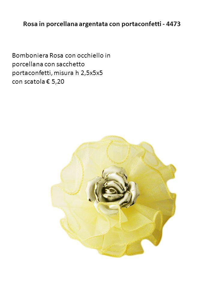 Rosa in porcellana argentata con portaconfetti - 4473 Bomboniera Rosa con occhiello in porcellana con sacchetto portaconfetti, misura h 2,5x5x5 con sc