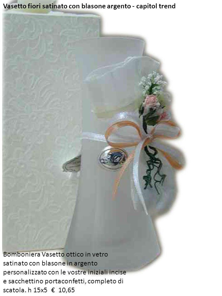 Vasetto fiori satinato con blasone argento - capitol trend Bomboniera Vasetto ottico in vetro satinato con blasone in argento personalizzato con le vo