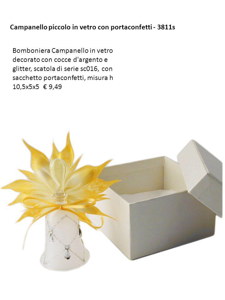 Campanello piccolo in vetro con portaconfetti - 3811s Bomboniera Campanello in vetro decorato con cocce d'argento e glitter, scatola di serie sc016, c