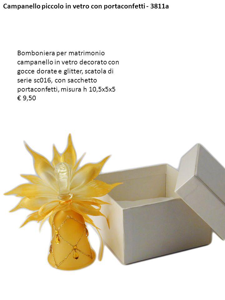 Campanello piccolo in vetro con portaconfetti - 3811a Bomboniera per matrimonio campanello in vetro decorato con gocce dorate e glitter, scatola di se