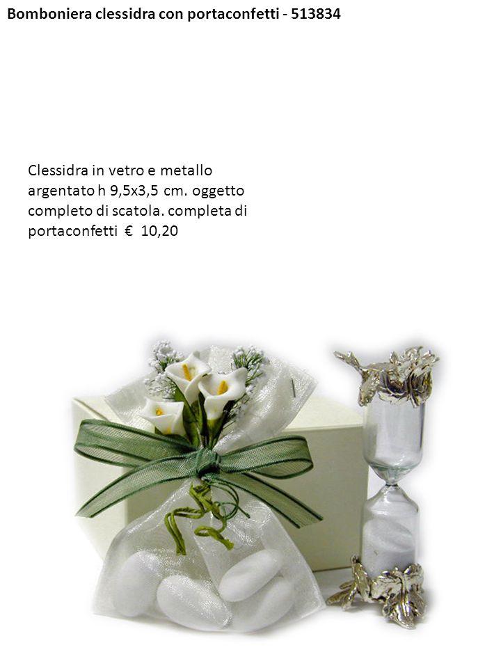 Bomboniera clessidra con portaconfetti - 513834 Clessidra in vetro e metallo argentato h 9,5x3,5 cm. oggetto completo di scatola. completa di portacon
