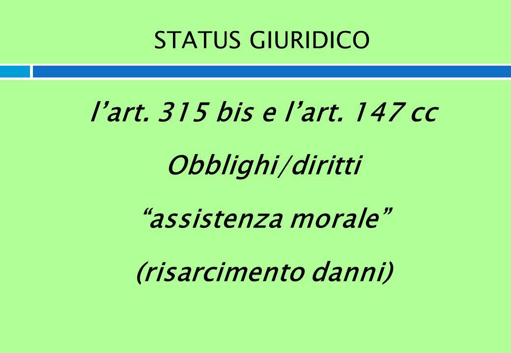 STATUS GIURIDICO lart. 315 bis e lart. 147 cc Obblighi/diritti assistenza morale (risarcimento danni)