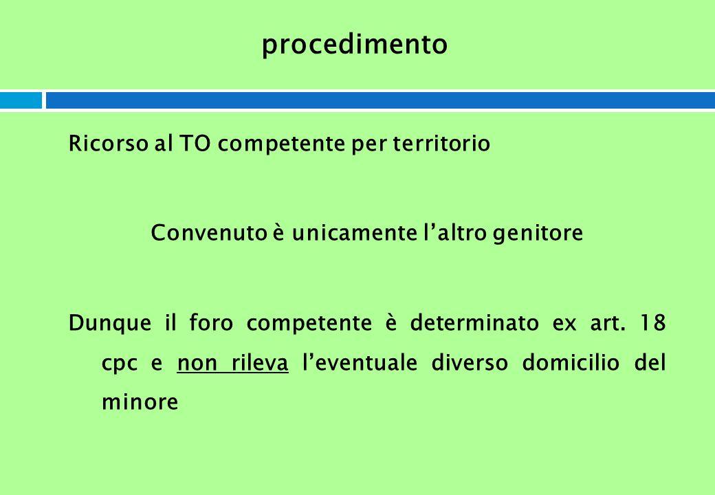 procedimento Ricorso al TO competente per territorio Convenuto è unicamente laltro genitore Dunque il foro competente è determinato ex art. 18 cpc e n