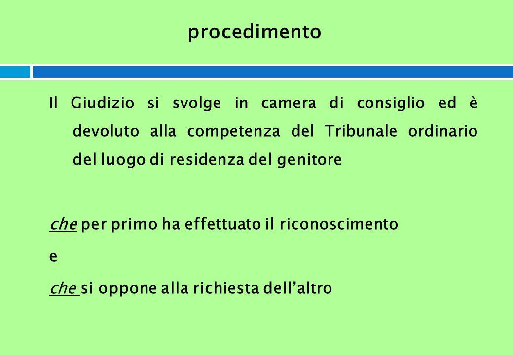 procedimento Il Giudizio si svolge in camera di consiglio ed è devoluto alla competenza del Tribunale ordinario del luogo di residenza del genitore ch