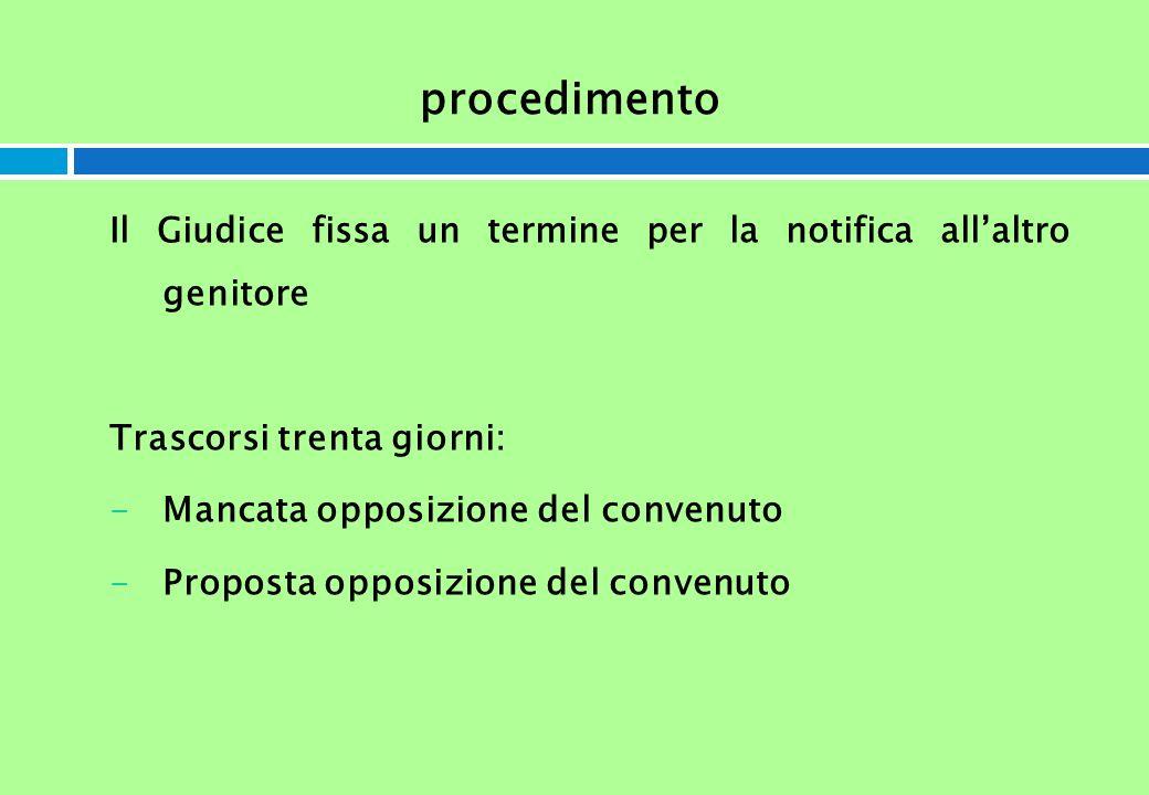 procedimento Il Giudice fissa un termine per la notifica allaltro genitore Trascorsi trenta giorni: -Mancata opposizione del convenuto -Proposta oppos