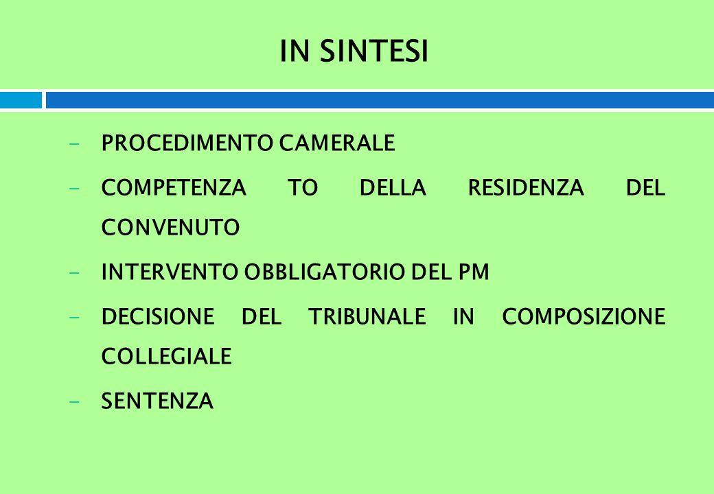 IN SINTESI -PROCEDIMENTO CAMERALE -COMPETENZA TO DELLA RESIDENZA DEL CONVENUTO -INTERVENTO OBBLIGATORIO DEL PM -DECISIONE DEL TRIBUNALE IN COMPOSIZION