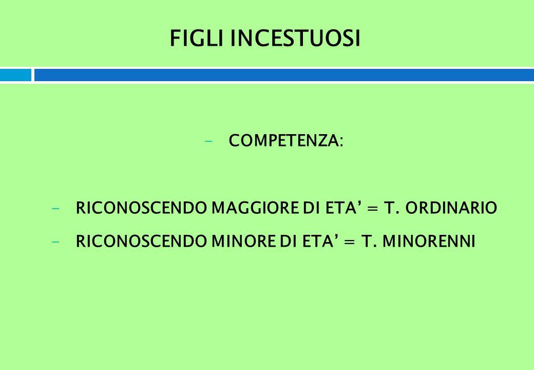 FIGLI INCESTUOSI -COMPETENZA: -RICONOSCENDO MAGGIORE DI ETA = T. ORDINARIO -RICONOSCENDO MINORE DI ETA = T. MINORENNI
