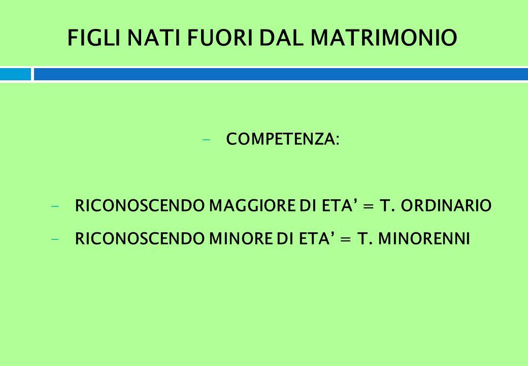 FIGLI NATI FUORI DAL MATRIMONIO -COMPETENZA: -RICONOSCENDO MAGGIORE DI ETA = T. ORDINARIO -RICONOSCENDO MINORE DI ETA = T. MINORENNI