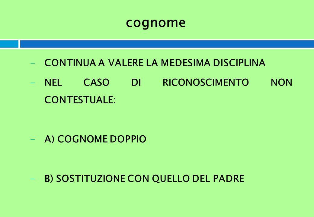 cognome -CONTINUA A VALERE LA MEDESIMA DISCIPLINA -NEL CASO DI RICONOSCIMENTO NON CONTESTUALE: -A) COGNOME DOPPIO -B) SOSTITUZIONE CON QUELLO DEL PADR