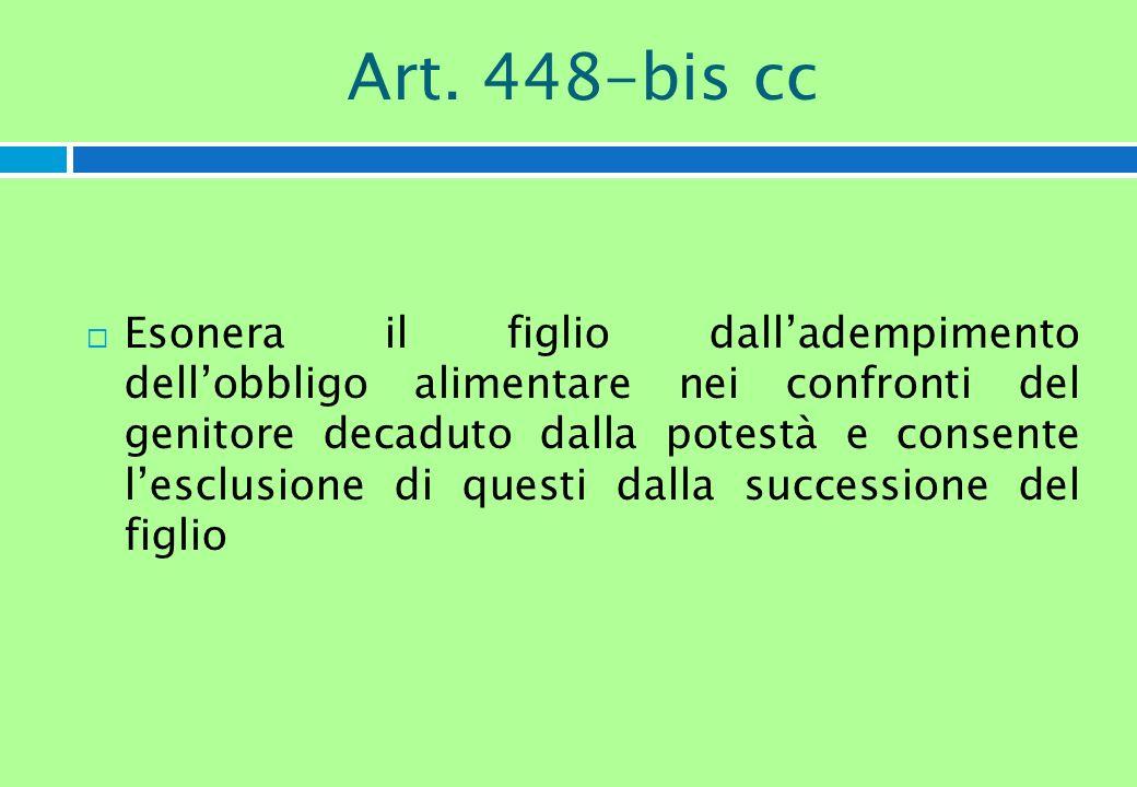 Art. 448-bis cc Esonera il figlio dalladempimento dellobbligo alimentare nei confronti del genitore decaduto dalla potestà e consente lesclusione di q