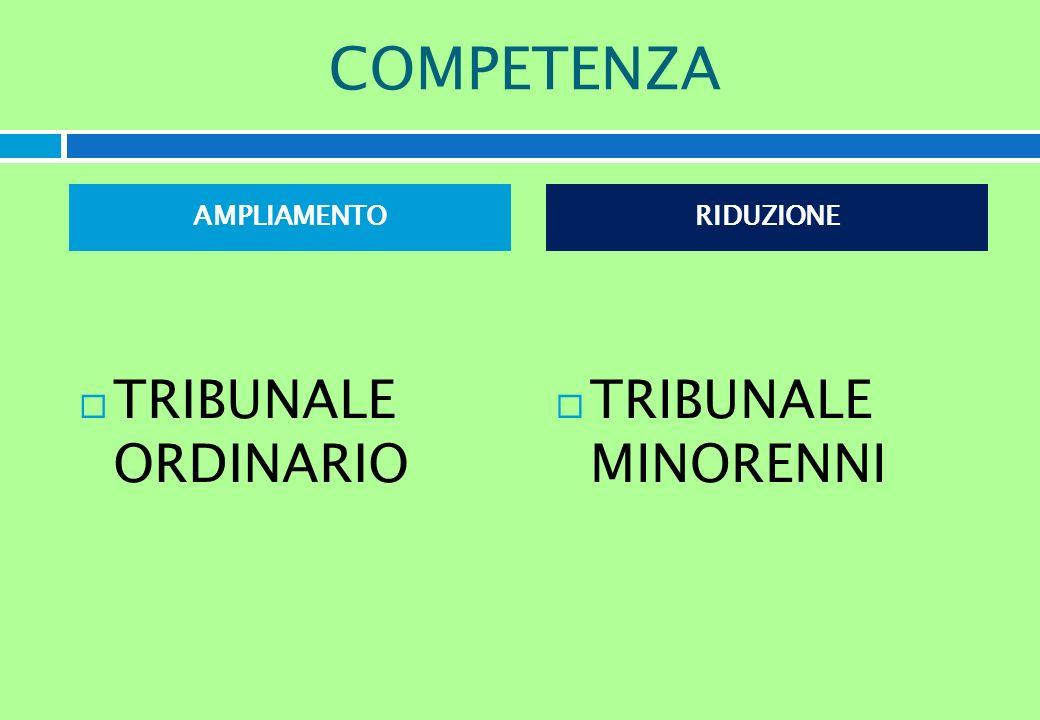 COMPETENZA AMPLIAMENTO TRIBUNALE ORDINARIO RIDUZIONE TRIBUNALE MINORENNI