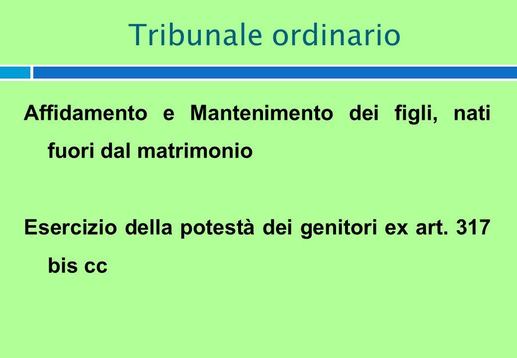 Affidamento e Mantenimento dei figli, nati fuori dal matrimonio Esercizio della potestà dei genitori ex art. 317 bis cc Tribunale ordinario