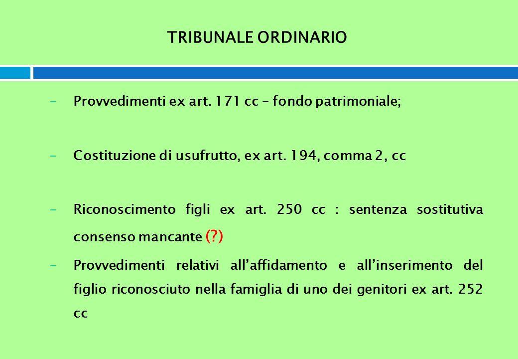 TRIBUNALE ORDINARIO -Provvedimenti ex art. 171 cc – fondo patrimoniale; -Costituzione di usufrutto, ex art. 194, comma 2, cc -Riconoscimento figli ex