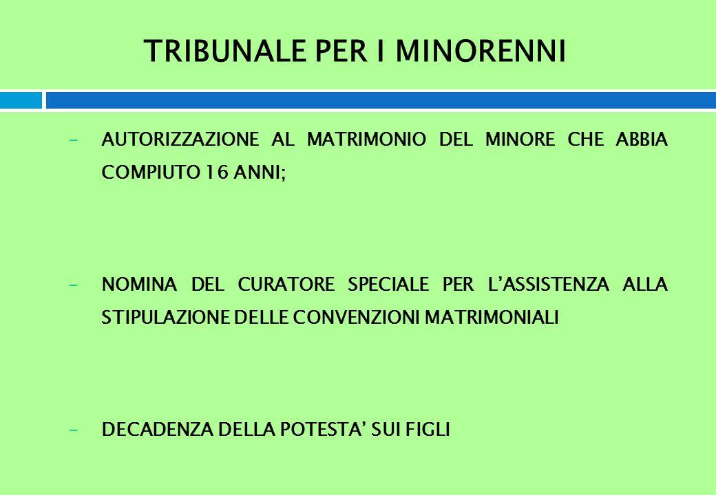 TRIBUNALE PER I MINORENNI -AUTORIZZAZIONE AL MATRIMONIO DEL MINORE CHE ABBIA COMPIUTO 16 ANNI; -NOMINA DEL CURATORE SPECIALE PER LASSISTENZA ALLA STIP