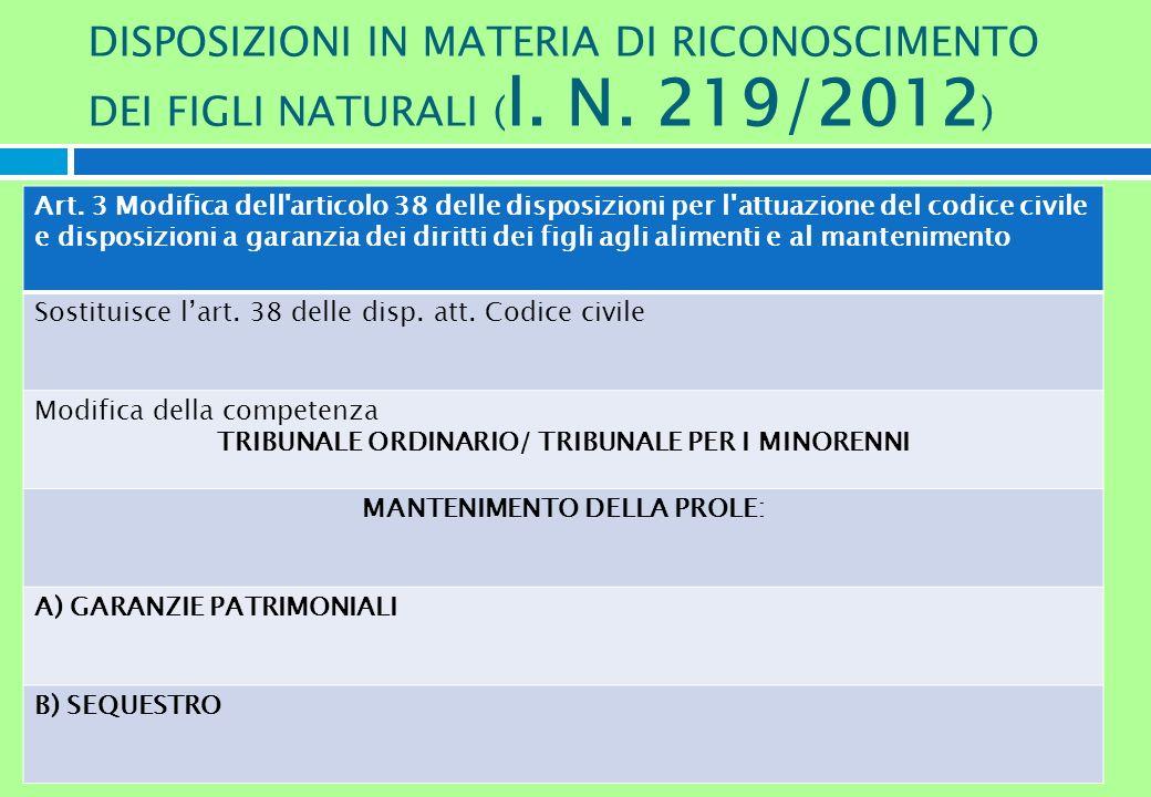 DISPOSIZIONI IN MATERIA DI RICONOSCIMENTO DEI FIGLI NATURALI ( l. N. 219/2012 ) Art. 3 Modifica dell'articolo 38 delle disposizioni per l'attuazione d