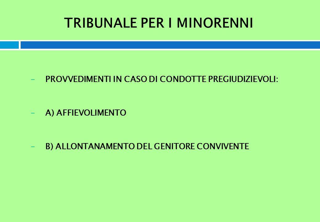 TRIBUNALE PER I MINORENNI -PROVVEDIMENTI IN CASO DI CONDOTTE PREGIUDIZIEVOLI: -A) AFFIEVOLIMENTO -B) ALLONTANAMENTO DEL GENITORE CONVIVENTE