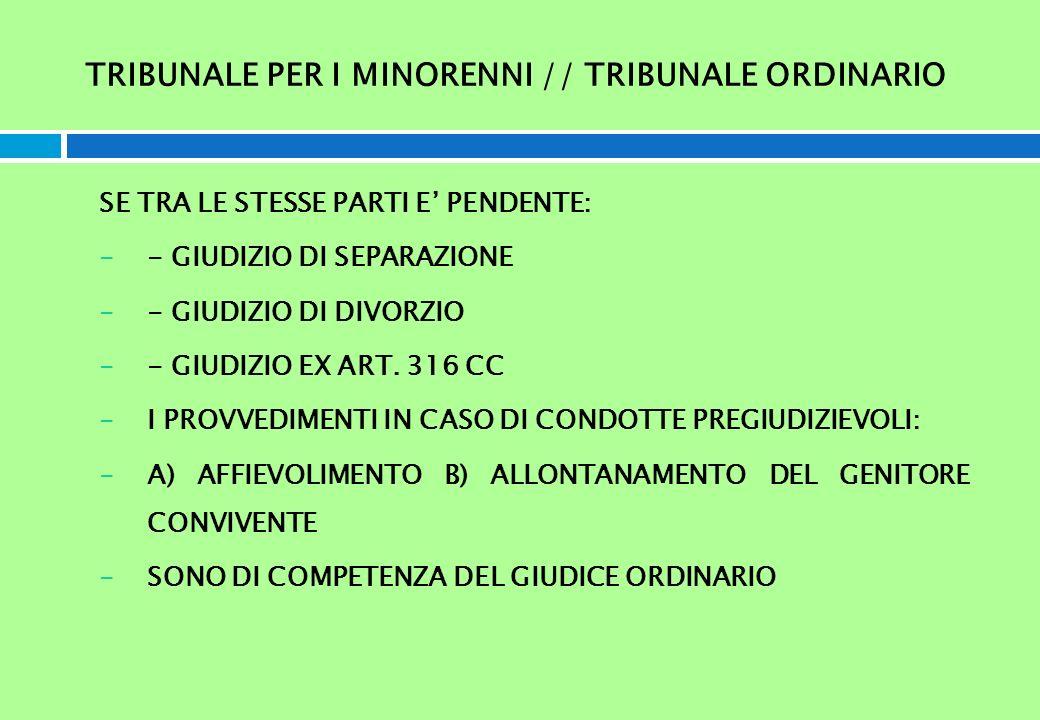 TRIBUNALE PER I MINORENNI // TRIBUNALE ORDINARIO SE TRA LE STESSE PARTI E PENDENTE: -- GIUDIZIO DI SEPARAZIONE -- GIUDIZIO DI DIVORZIO -- GIUDIZIO EX