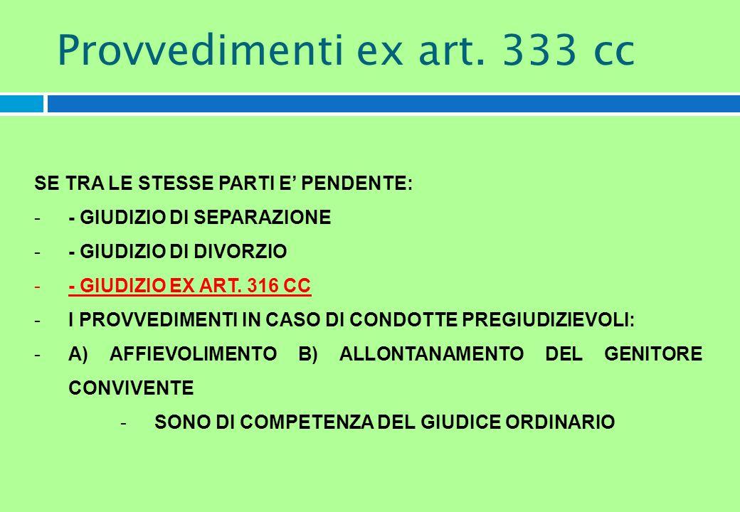 SE TRA LE STESSE PARTI E PENDENTE: -- GIUDIZIO DI SEPARAZIONE -- GIUDIZIO DI DIVORZIO -- GIUDIZIO EX ART. 316 CC -I PROVVEDIMENTI IN CASO DI CONDOTTE