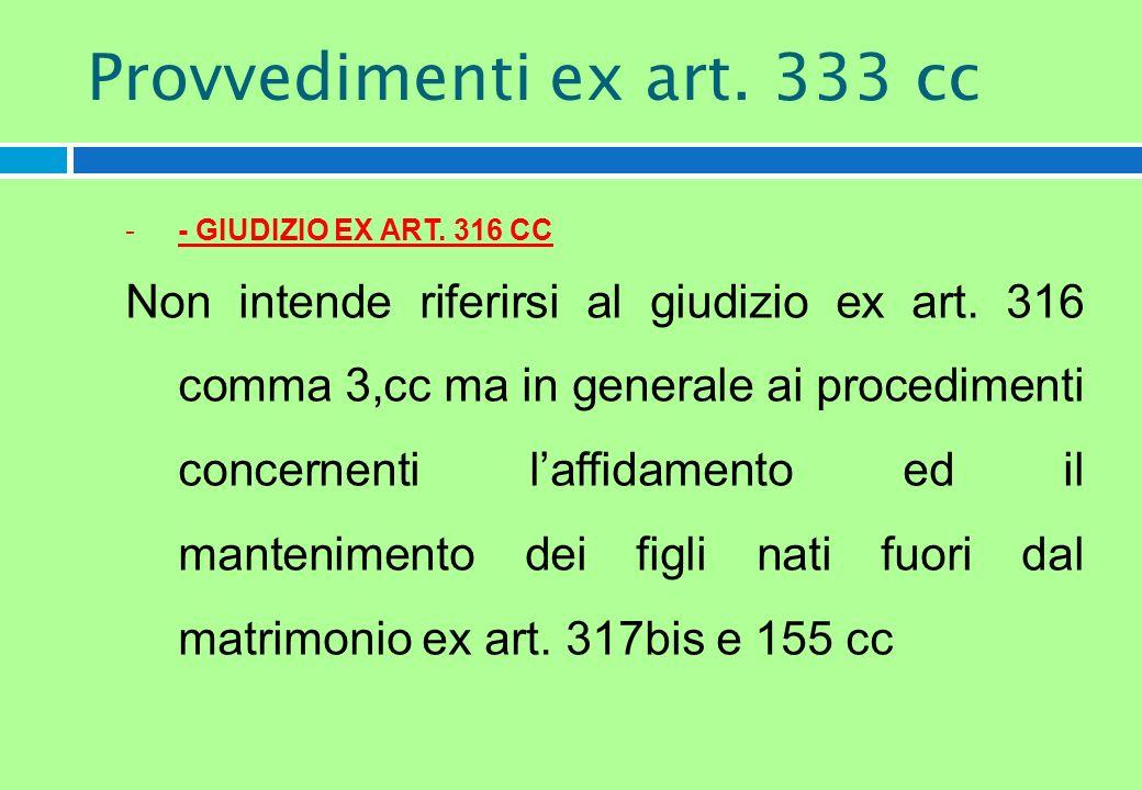 -- GIUDIZIO EX ART. 316 CC Non intende riferirsi al giudizio ex art. 316 comma 3,cc ma in generale ai procedimenti concernenti laffidamento ed il mant