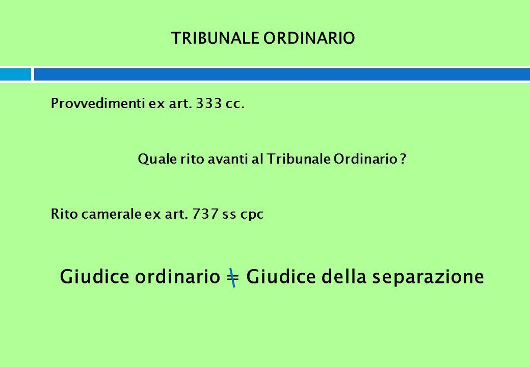 TRIBUNALE ORDINARIO Provvedimenti ex art. 333 cc. Quale rito avanti al Tribunale Ordinario ? Rito camerale ex art. 737 ss cpc Giudice ordinario = Giud