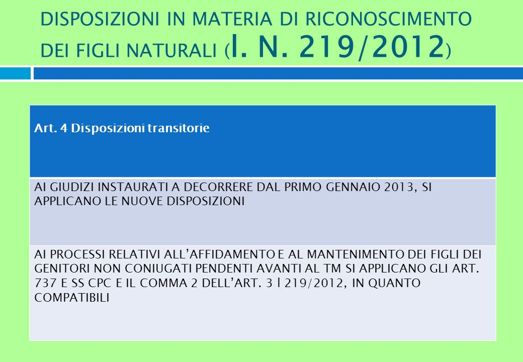 DISPOSIZIONI IN MATERIA DI RICONOSCIMENTO DEI FIGLI NATURALI ( l. N. 219/2012 ) Art. 4 Disposizioni transitorie AI GIUDIZI INSTAURATI A DECORRERE DAL
