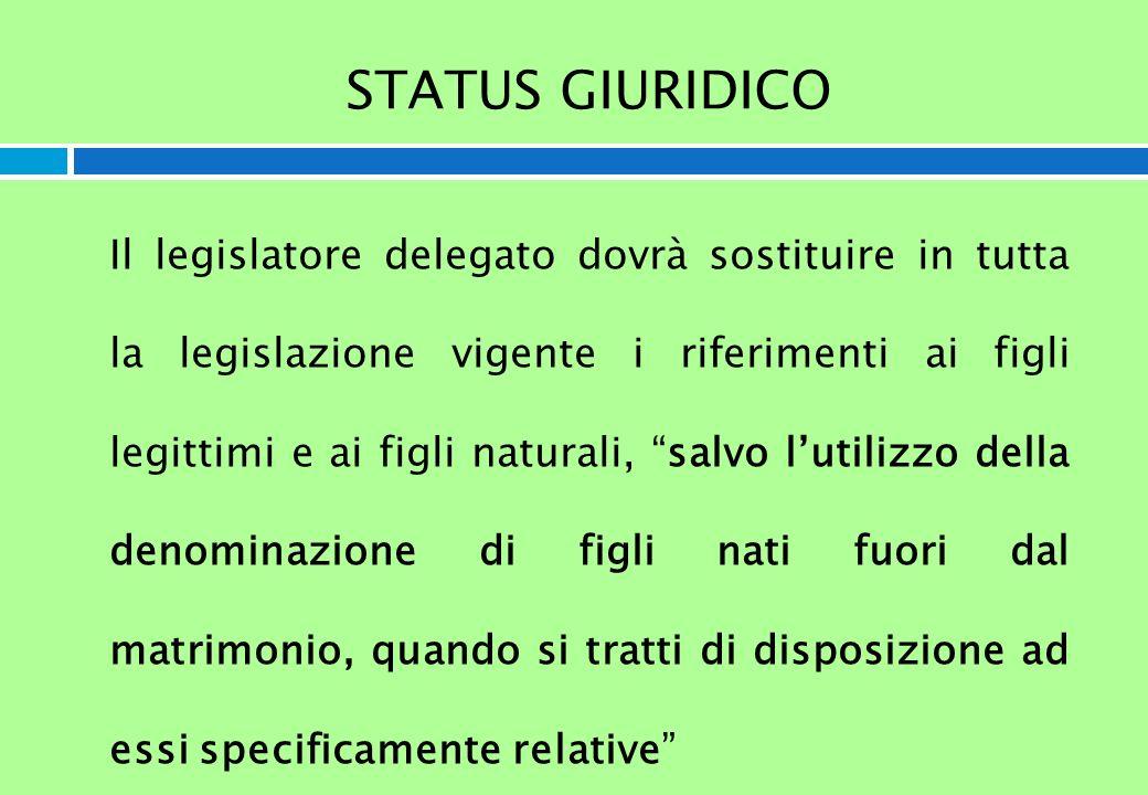 STATUS GIURIDICO Il legislatore delegato dovrà sostituire in tutta la legislazione vigente i riferimenti ai figli legittimi e ai figli naturali, salvo