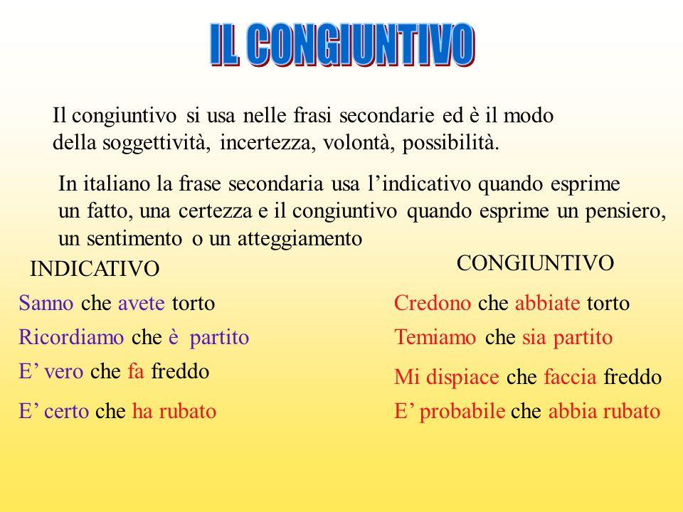 Il congiuntivo si usa nelle frasi secondarie ed è il modo della soggettività, incertezza, volontà, possibilità. In italiano la frase secondaria usa li