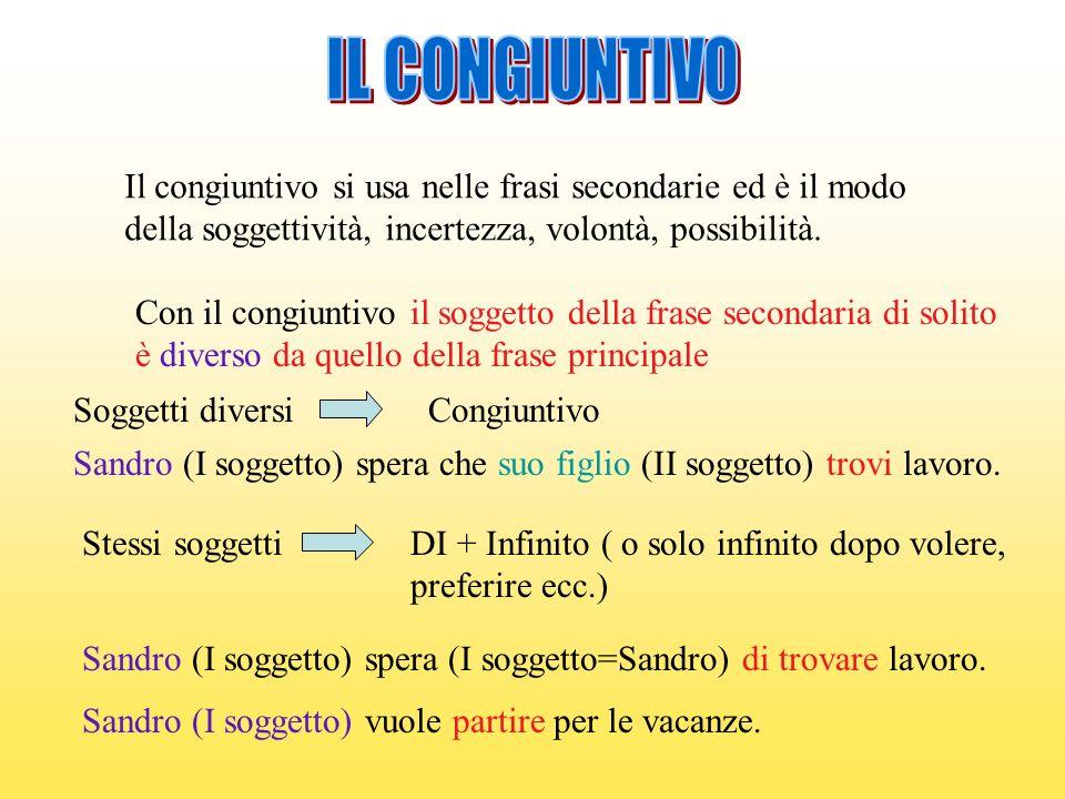 Il congiuntivo si usa nelle frasi secondarie ed è il modo della soggettività, incertezza, volontà, possibilità. Con il congiuntivo il soggetto della f
