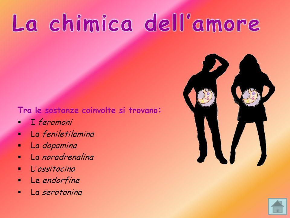 Tra le sostanze coinvolte si trovano : I feromoni La feniletilamina La dopamina La noradrenalina Lossitocina Le endorfine La serotonina