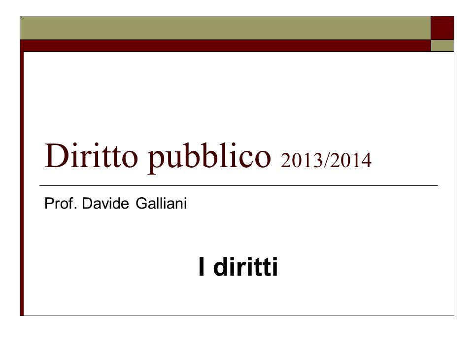 Diritto pubblico 2013/2014 Prof. Davide Galliani I diritti