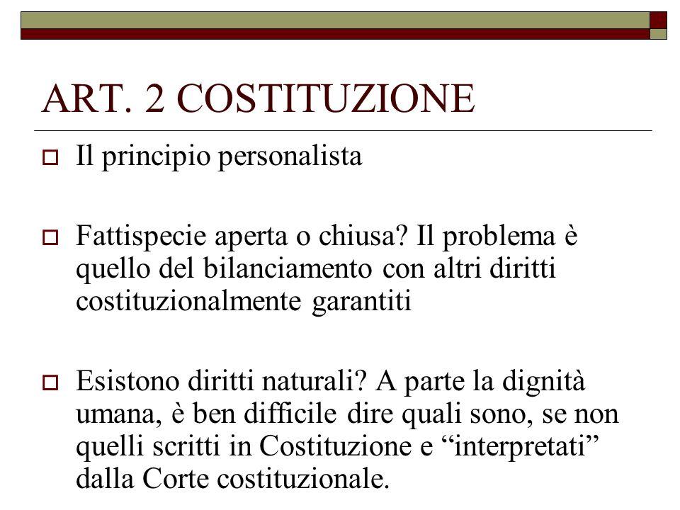 ART. 2 COSTITUZIONE Il principio personalista Fattispecie aperta o chiusa? Il problema è quello del bilanciamento con altri diritti costituzionalmente