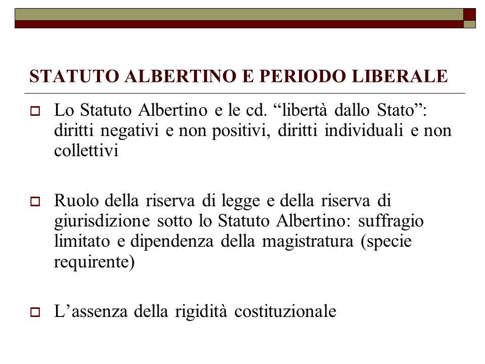 STATUTO ALBERTINO E PERIODO LIBERALE Lo Statuto Albertino e le cd. libertà dallo Stato: diritti negativi e non positivi, diritti individuali e non col