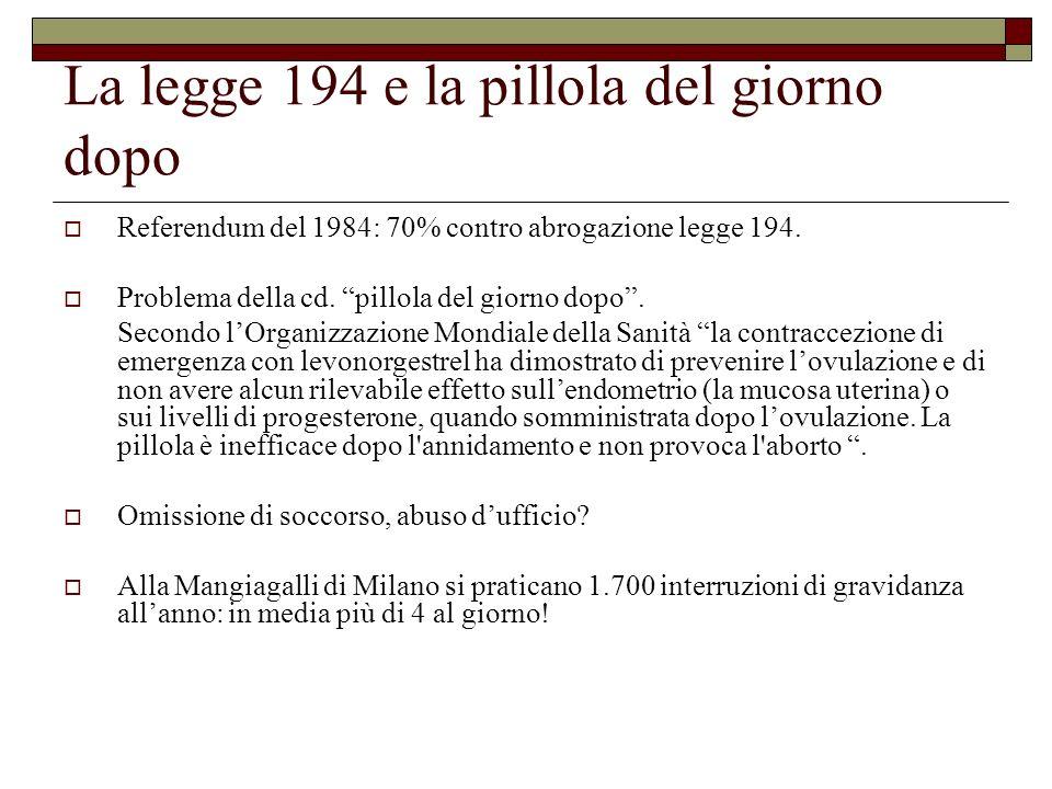 La legge 194 e la pillola del giorno dopo Referendum del 1984: 70% contro abrogazione legge 194. Problema della cd. pillola del giorno dopo. Secondo l