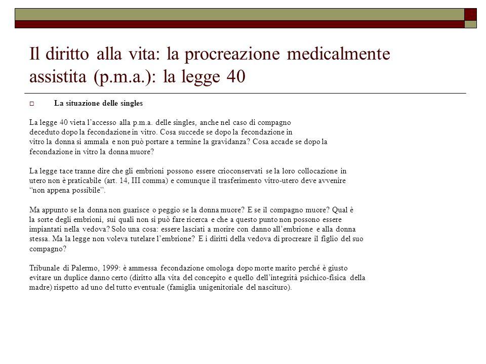 Il diritto alla vita: la procreazione medicalmente assistita (p.m.a.): la legge 40 La situazione delle singles La legge 40 vieta laccesso alla p.m.a.