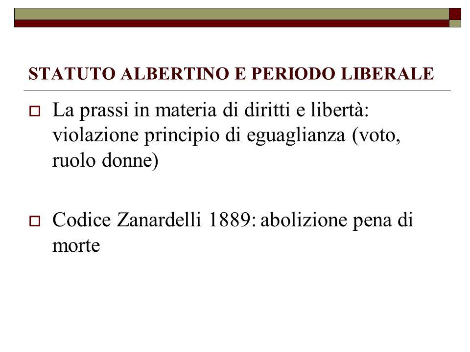 STATUTO ALBERTINO E PERIODO LIBERALE La prassi in materia di diritti e libertà: violazione principio di eguaglianza (voto, ruolo donne) Codice Zanarde